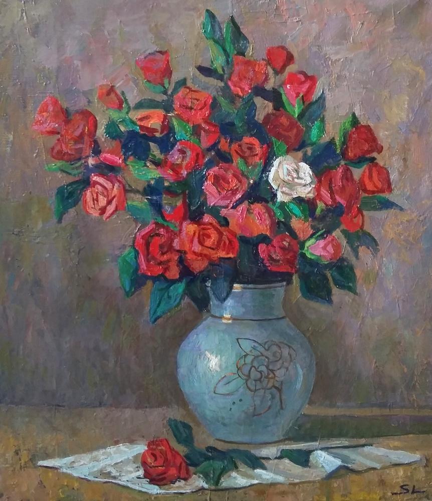 Semen Lukansi: Roses, oil on canvas, холст, масло, 60х50 cm.
